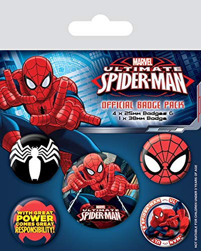 Marvel - Spiderman 5er Set Badges (Ø = 4 x 25 mm + 1 x 38 mm)