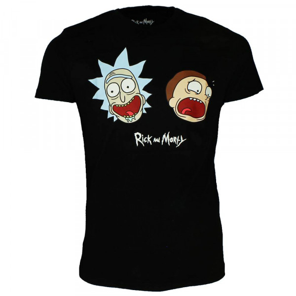 Rick and Morty - Face (schwarz) - T-Shirt