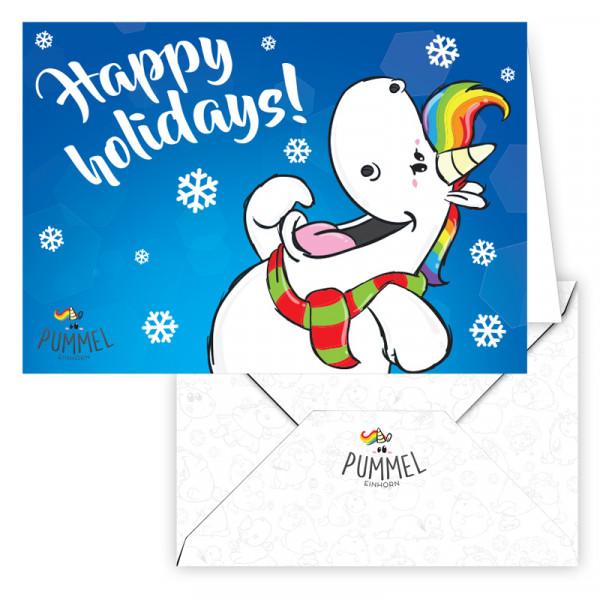 Pummeleinhorn - Grußkarte (Happy Holidays!)