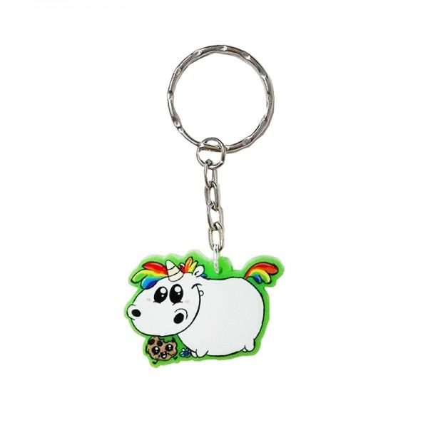 Pummeleinhorn Schlüsselanhänger - Babypummel (grün gefrostet)