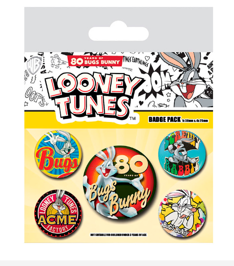Looney Tunes - Bugs Bunny 80th Anniversary Buttons Badge Pack